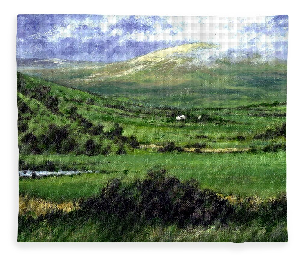 Landcape Fleece Blanket featuring the painting Way to Ardara Ireland by Jim Gola