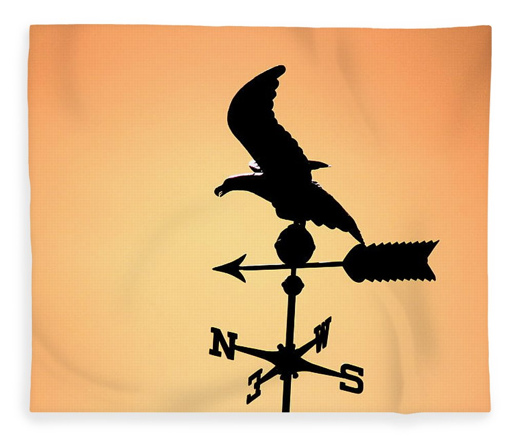 """Weathervane In Sunset Colors"" Fine Art Photography on Fleece Blanket"
