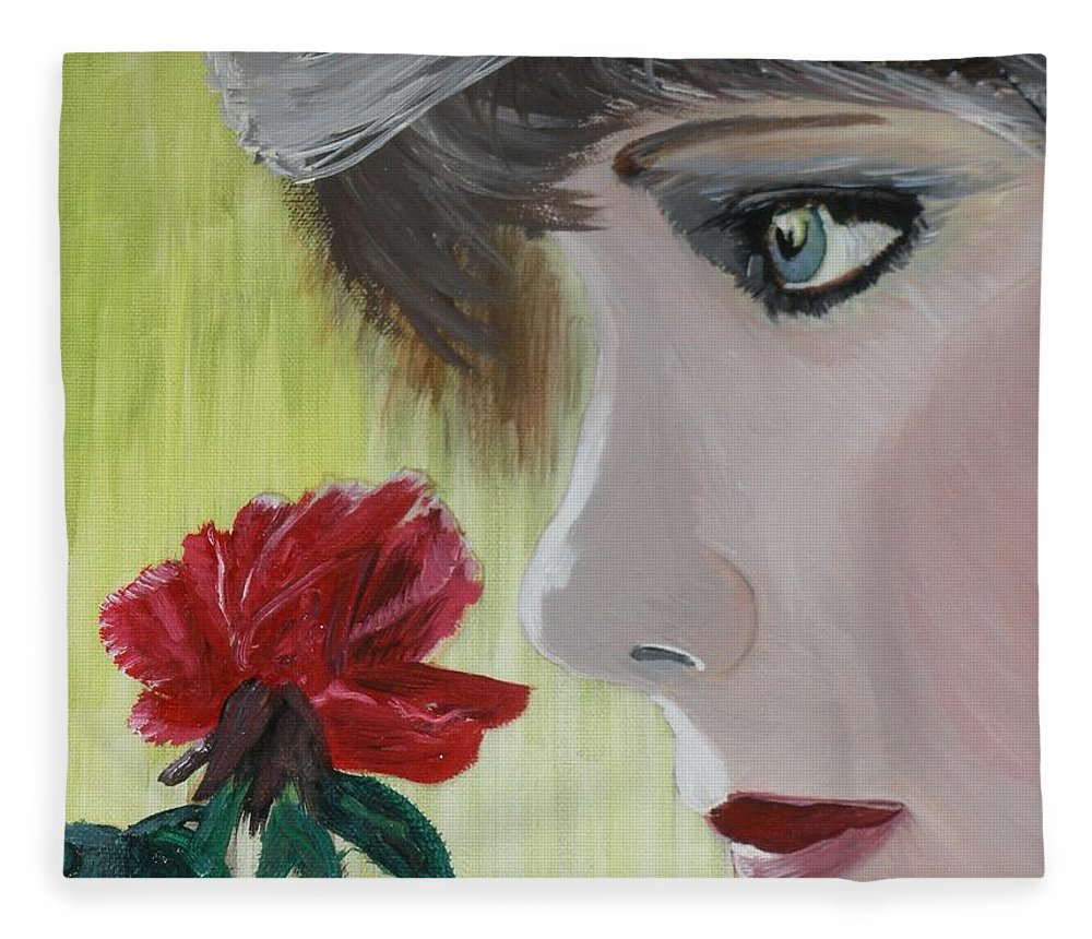 Romance Fleece Blanket featuring the painting Wedding Rose by J Bauer