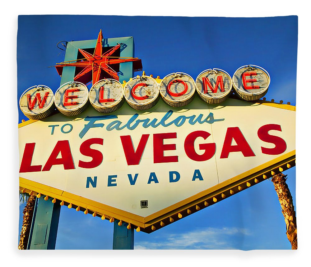 Welcome Las Vegas Sign Fleece Blanket featuring the photograph Welcome To Las Vegas Sign by Garry Gay