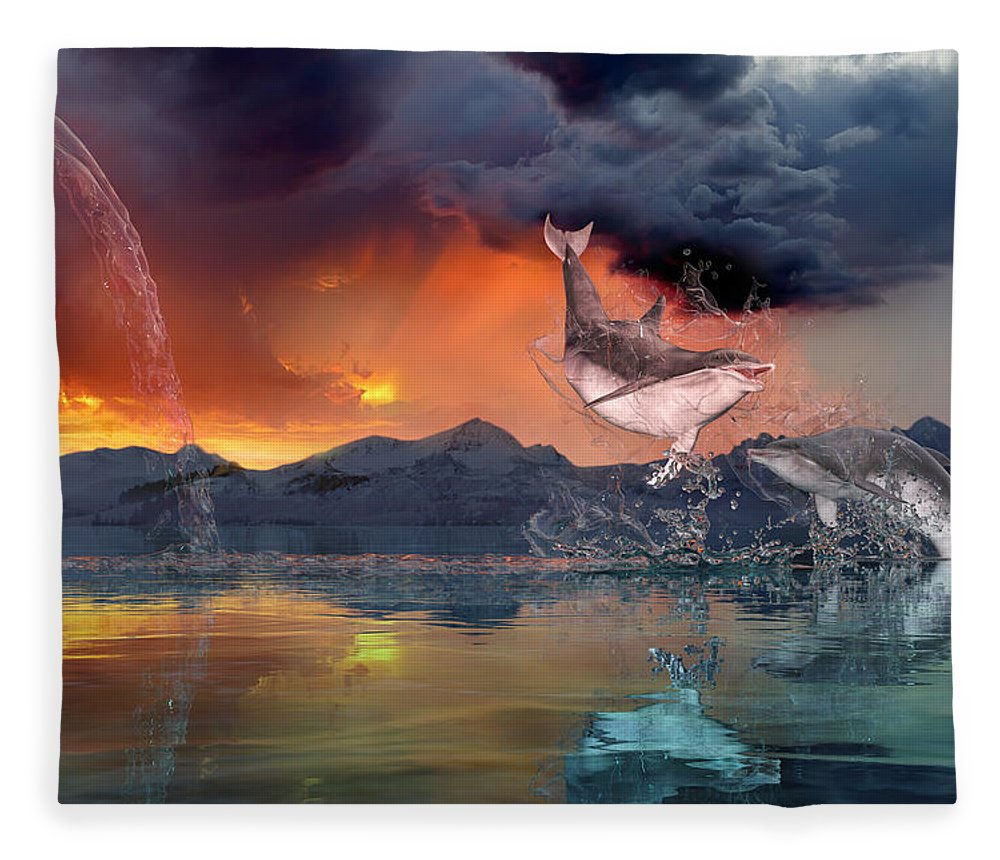 Dolphin Fleece Blanket featuring the digital art West World by Betsy Knapp