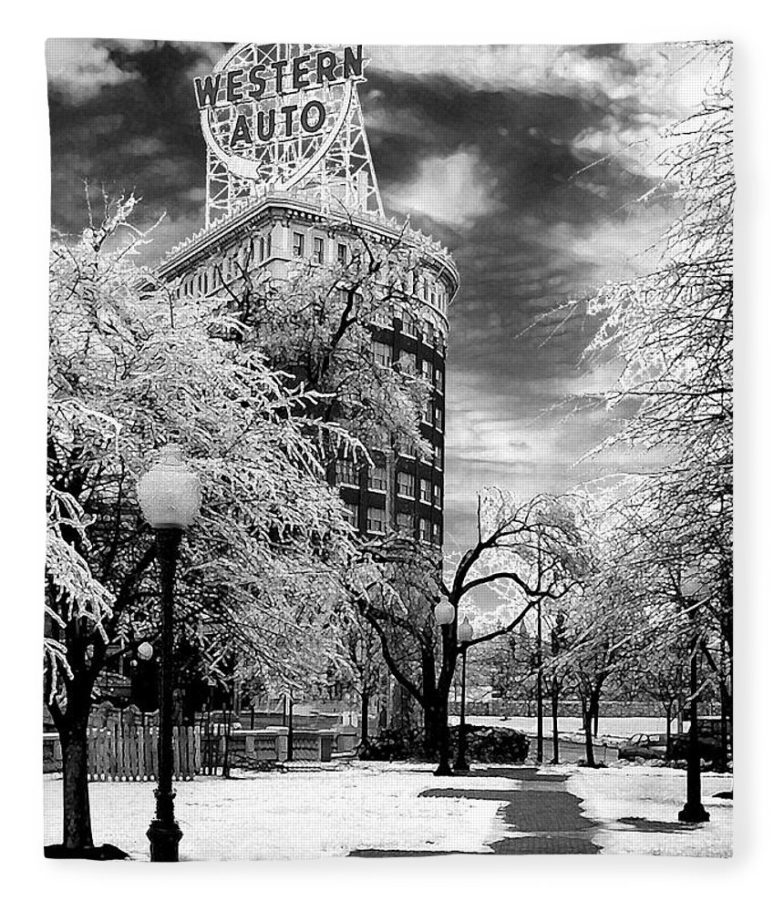 Western Auto Kansas City Fleece Blanket featuring the photograph Western Auto In Winter by Steve Karol