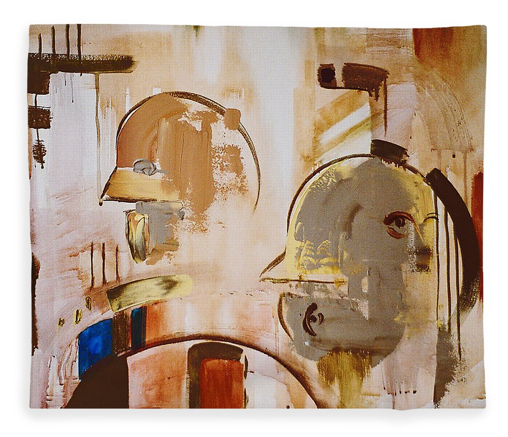 Abstract Fleece Blanket featuring the painting What is Identity by Stephen Lucas