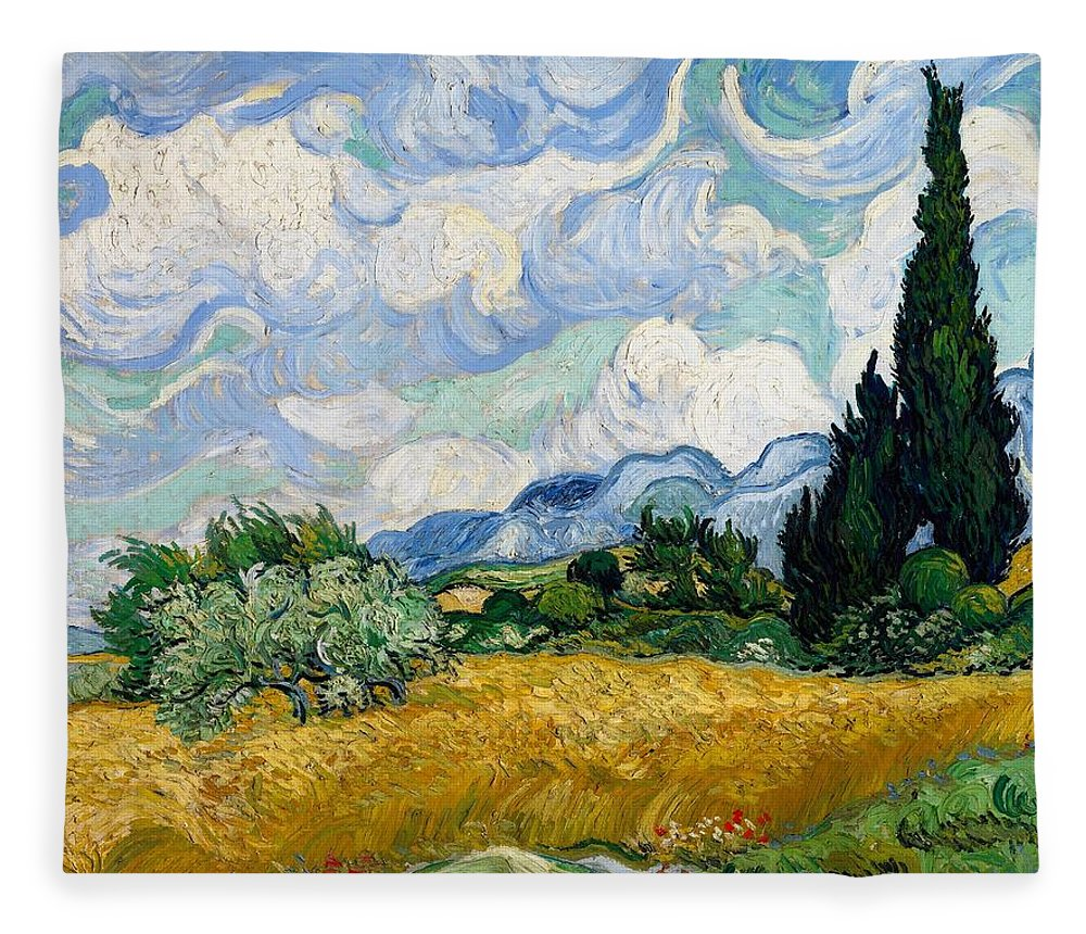 Vincent Van Gogh Fleece Blanket featuring the painting Wheatfield With Cypresses by Van Gogh