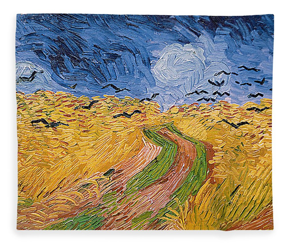 Landscape;post-impressionist; Summer; Wheat; Field; Birds; Threatening; Sky; Cloud; Post-impressionism Fleece Blanket featuring the painting Wheatfield with Crows by Vincent van Gogh