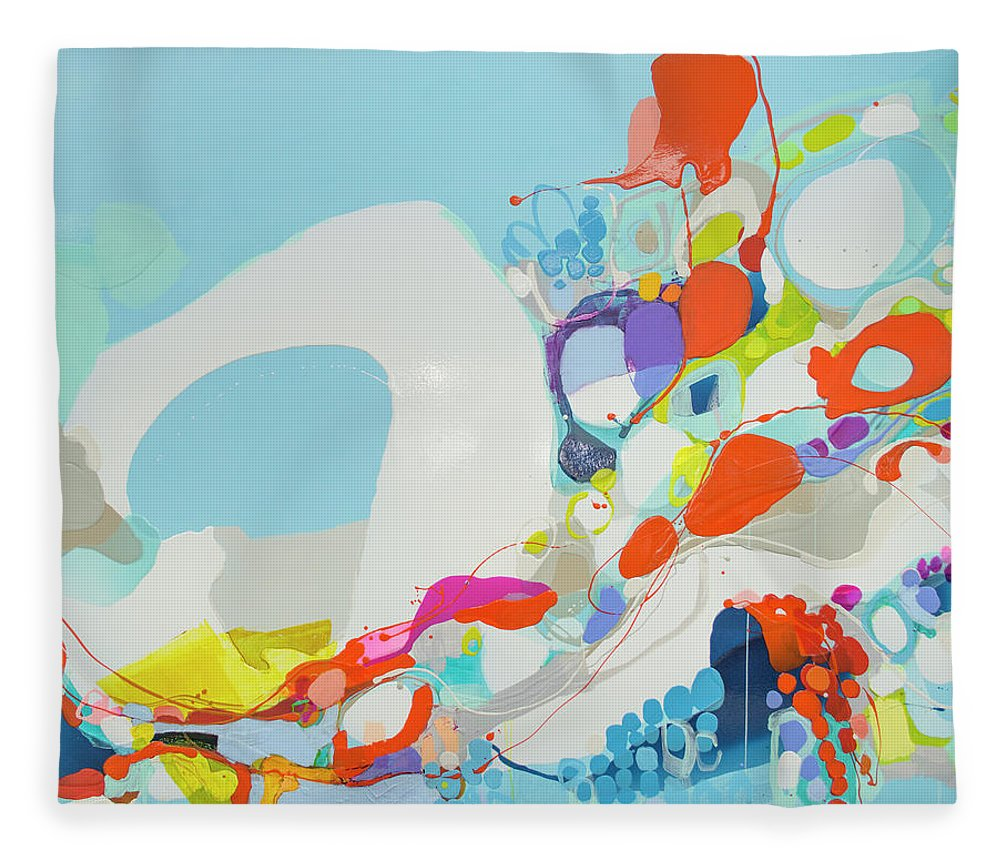 Abstract Fleece Blanket featuring the painting When Alexa Moved In by Claire Desjardins