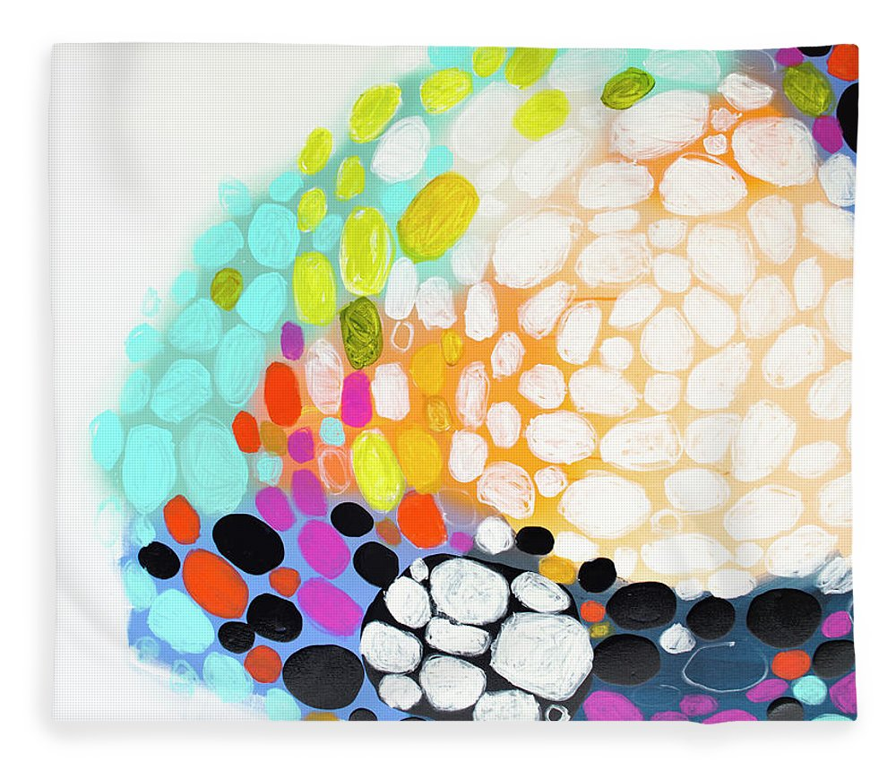 Abstract Fleece Blanket featuring the painting When You Get Home by Claire Desjardins