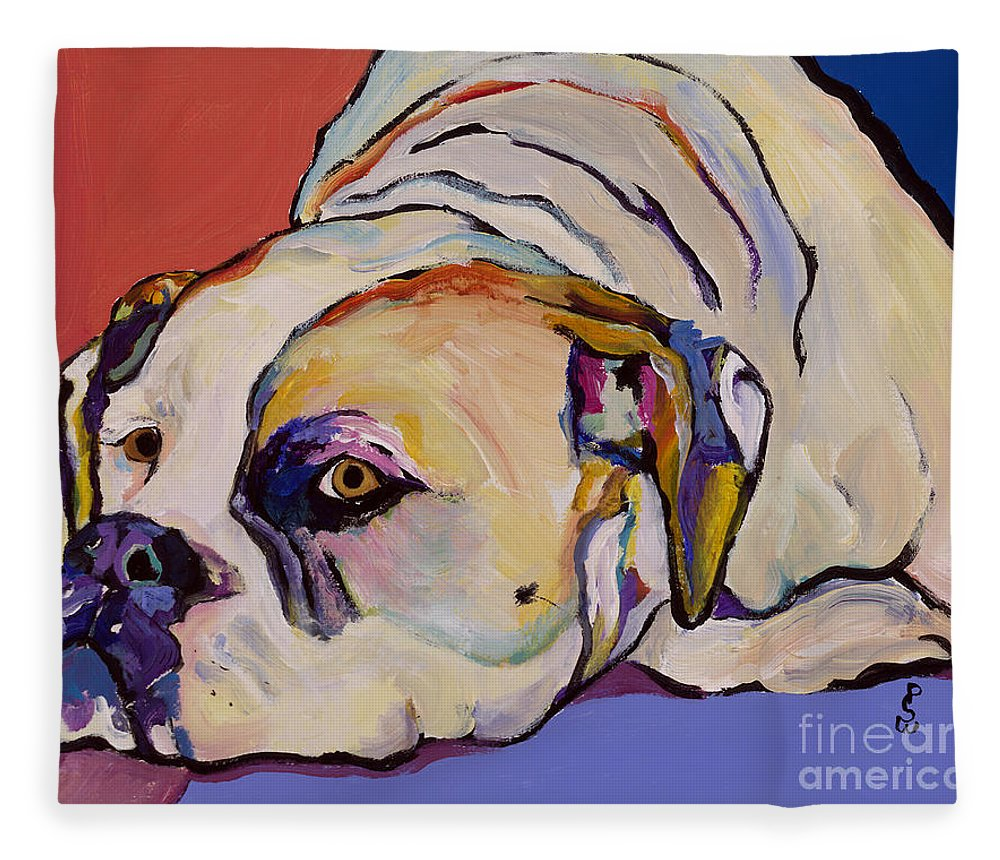 American Bulldog Fleece Blanket featuring the painting Where Is My Dinner by Pat Saunders-White