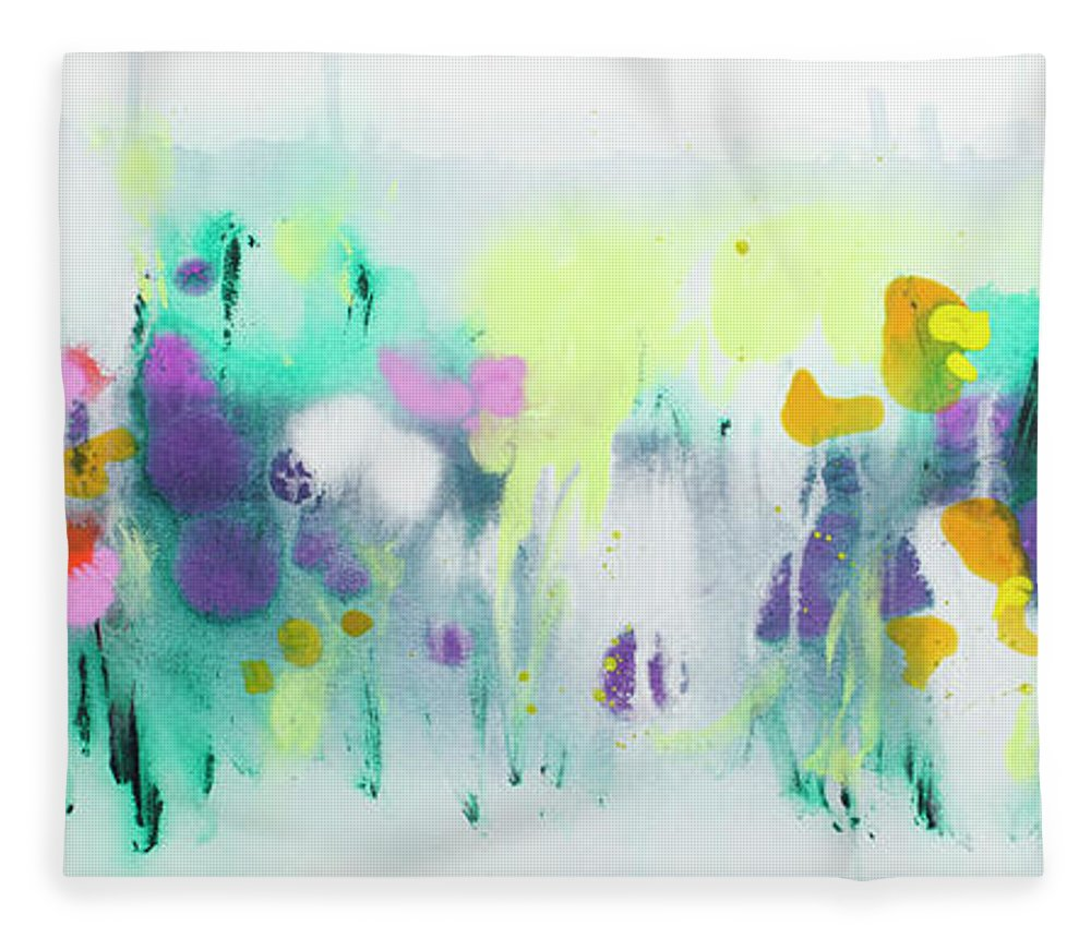 Abstract Fleece Blanket featuring the painting Where The Irises Grow by Claire Desjardins