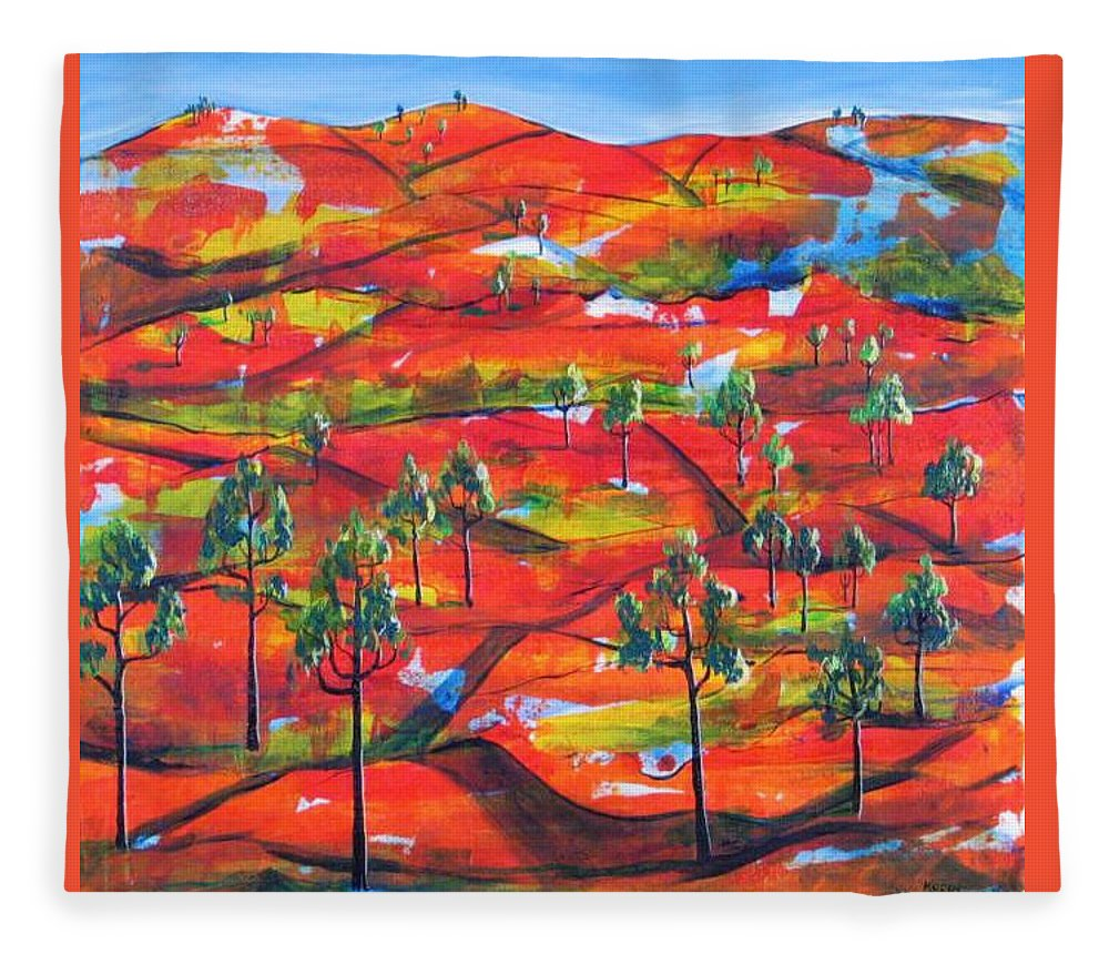 Landscape Fleece Blanket featuring the painting Where The Road Goes   by Rollin Kocsis