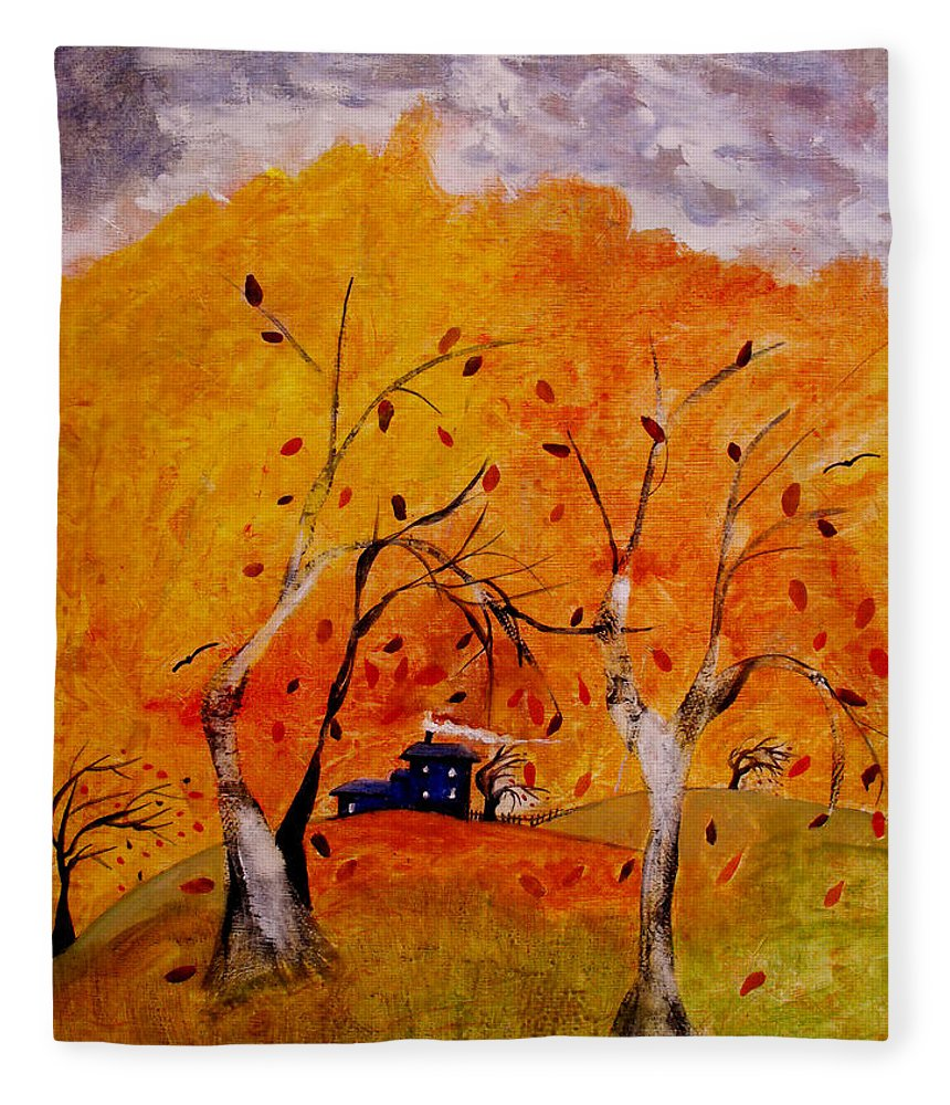 Abstract Fleece Blanket featuring the painting Whimsical Wind by Ruth Palmer