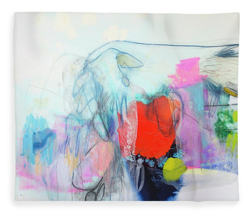 Abstract Fleece Blanket featuring the painting Whisper by Claire Desjardins