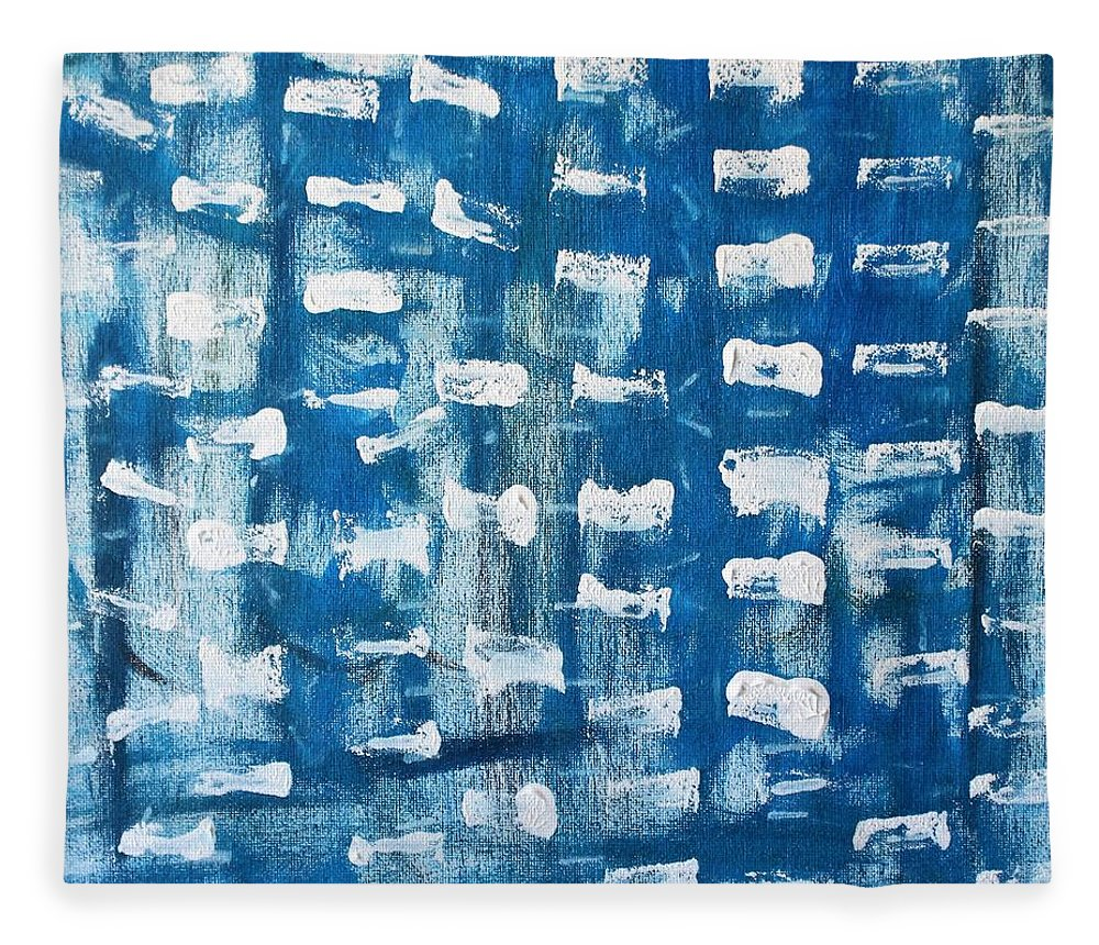 Blue Fleece Blanket featuring the painting Whispering Pines by Pam Roth O'Mara