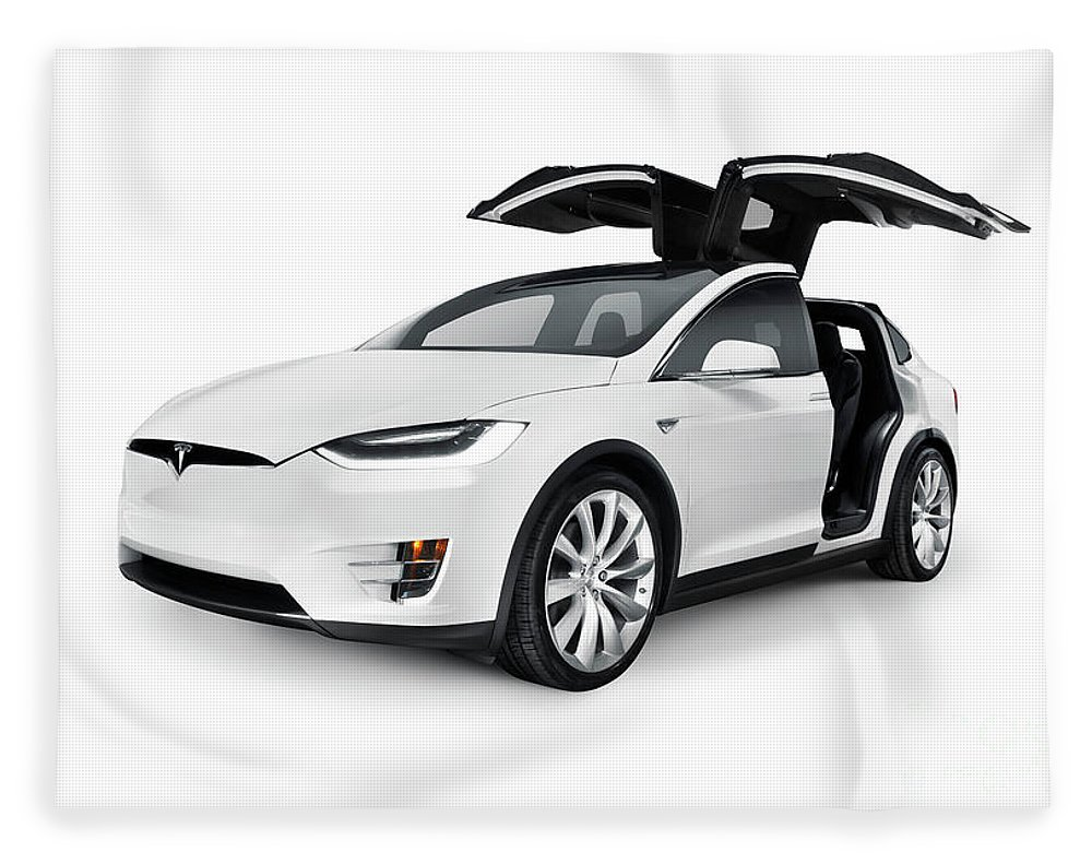 White 2017 Tesla Model X Luxury Suv Electric Car With Open Falco Fleece Blanket For Sale By Maxim Images Prints