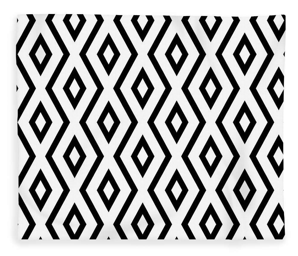White And Black Fleece Blanket featuring the mixed media White and Black Pattern by Christina Rollo