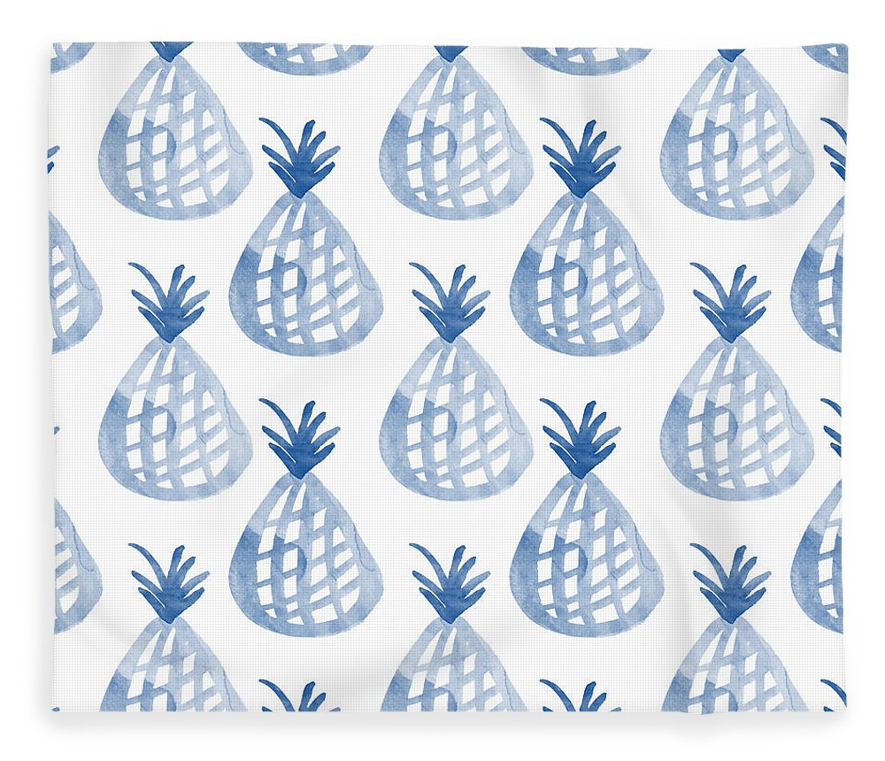 Pineapple Fleece Blanket featuring the mixed media White And Blue Pineapple Party by Linda Woods