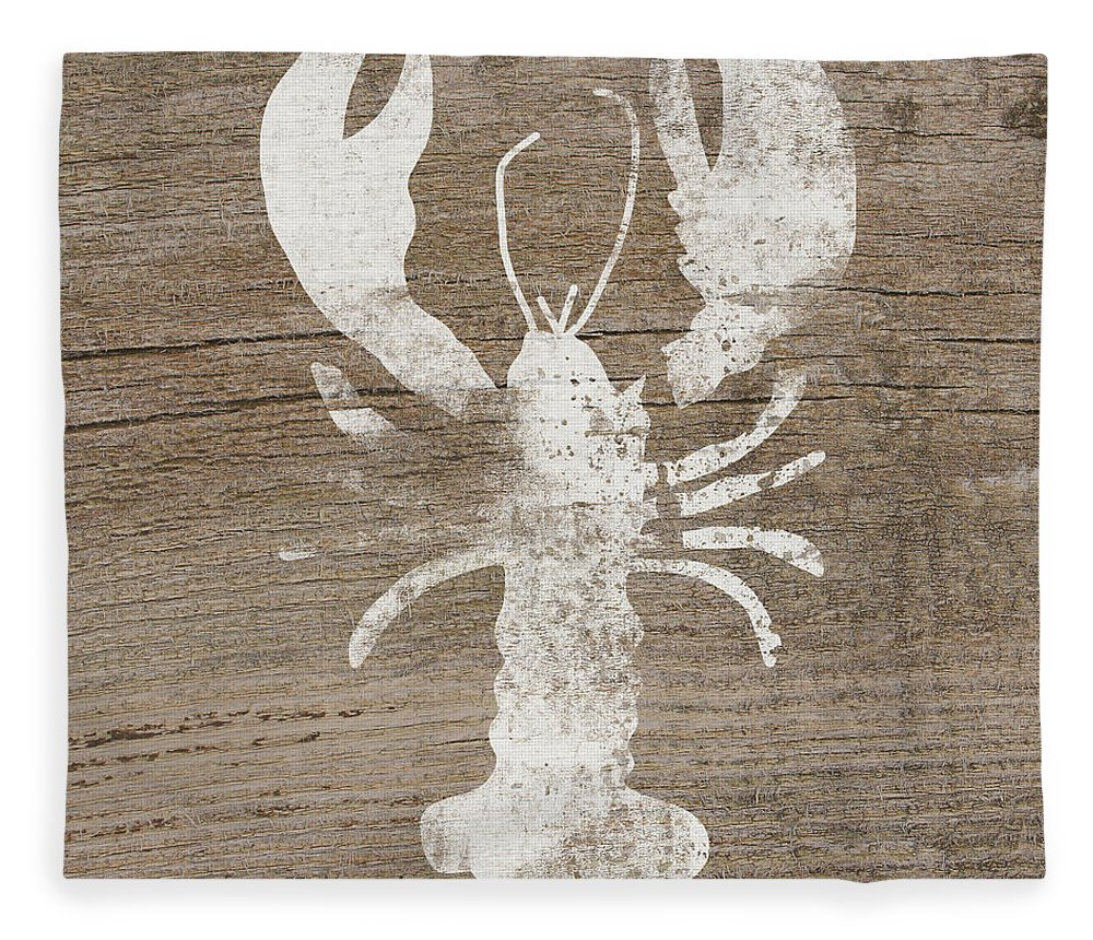 Cape Cod Fleece Blanket featuring the mixed media White Lobster On Wood- Art By Linda Woods by Linda Woods