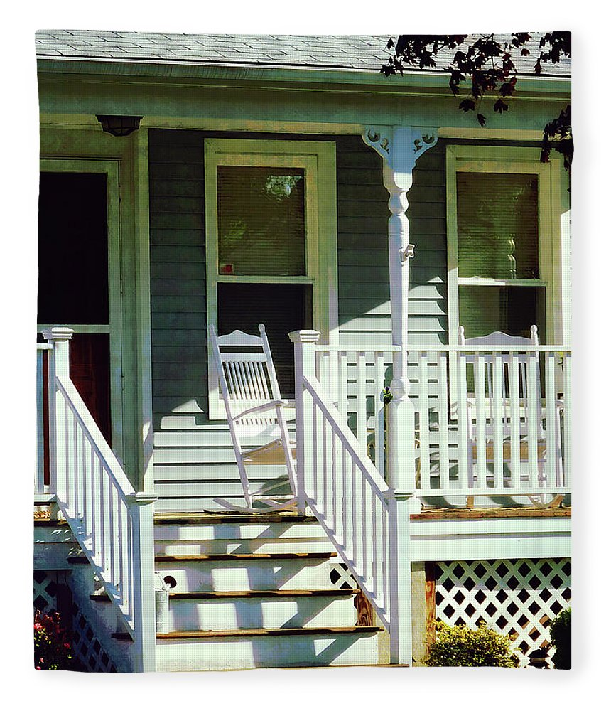 Porch Fleece Blanket featuring the photograph White Rocking Chairs by Susan Savad