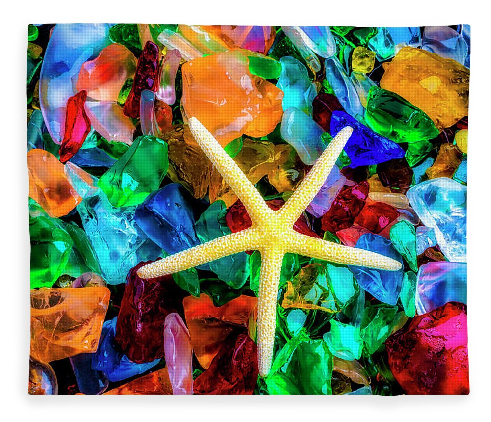 Colorfull Fleece Blanket featuring the photograph White Starfish On Sea Glass by Garry Gay