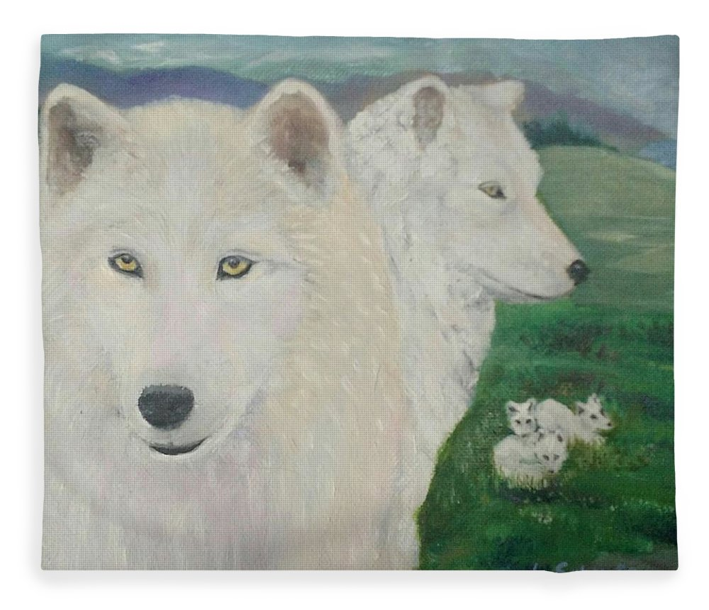 White Fleece Blanket featuring the painting White Wolves Guarding Their Pups by Liz Snyder
