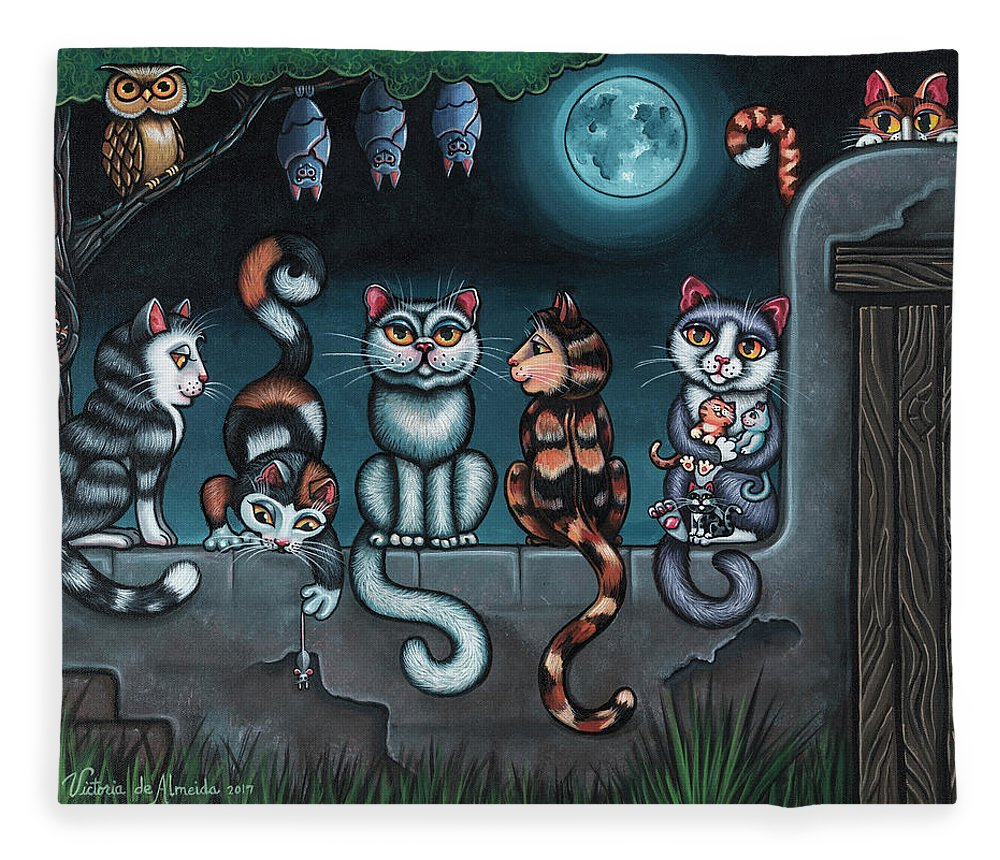 Cats Fleece Blanket featuring the painting Whos Your Daddy Cat Painting by Victoria De Almeida