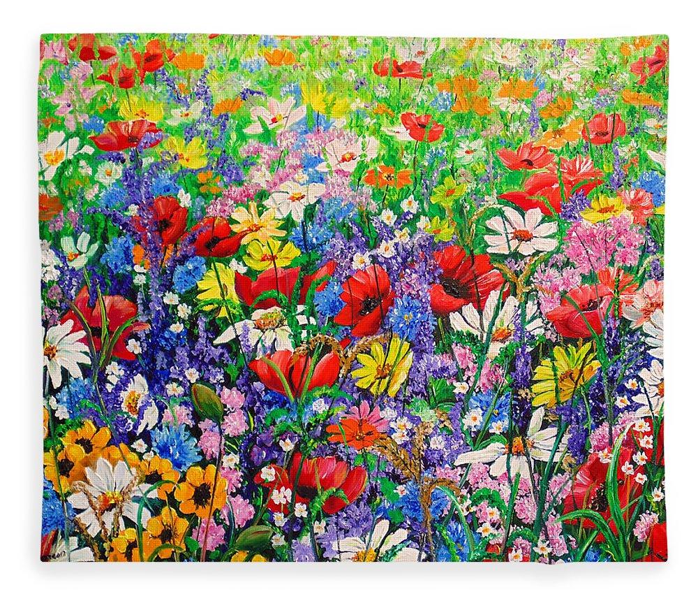 Wild Flowers Fleece Blanket featuring the painting Wild Flower Meadow by Karin Dawn Kelshall- Best