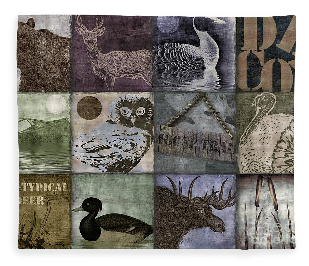 Mancave Fleece Blanket featuring the painting Wild Game Patchwork II by Mindy Sommers