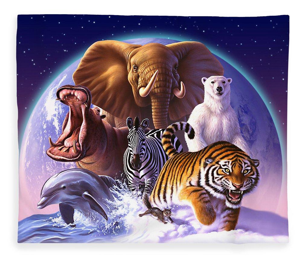 Mammals Fleece Blanket featuring the painting Wild World by Jerry LoFaro
