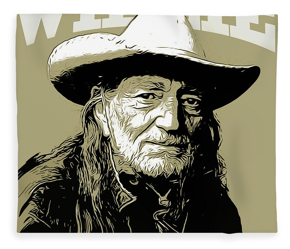 Willie Nelson Fleece Blanket featuring the mixed media Willie by Greg Joens