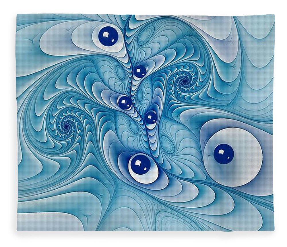 Marble Fleece Blanket featuring the digital art Wind Up Marble Works by Doug Morgan