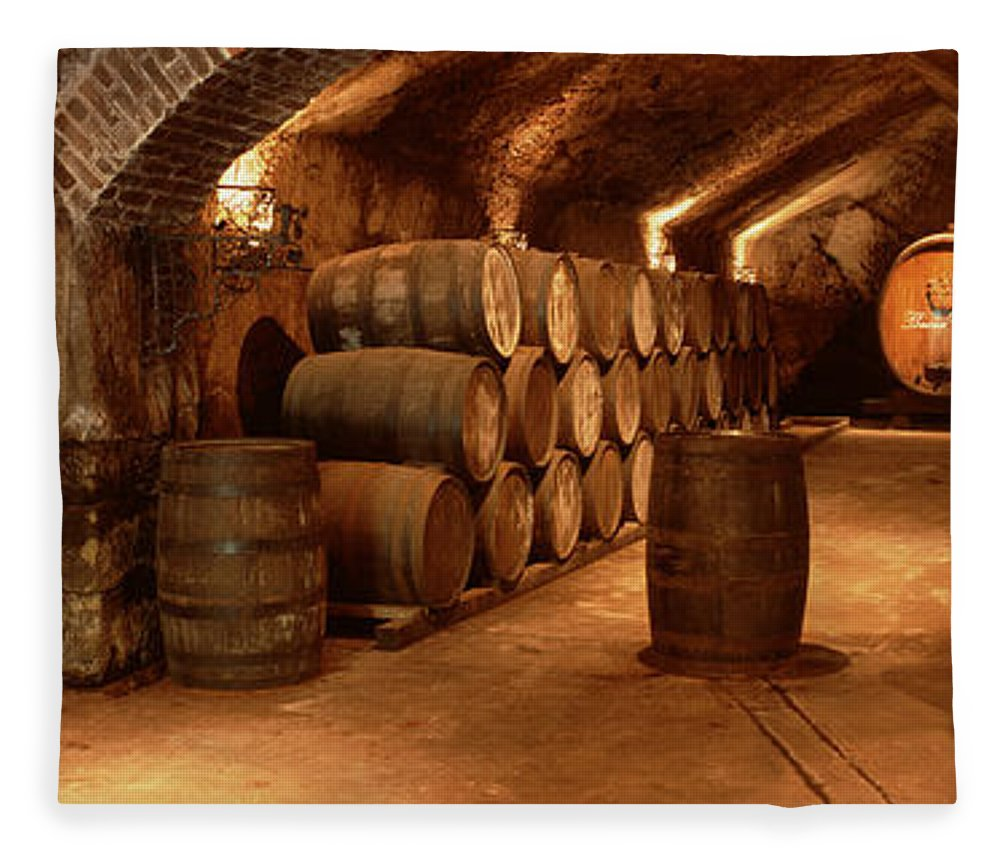 Photography Fleece Blanket featuring the photograph Wine Barrels In A Cellar, Buena Vista by Panoramic Images