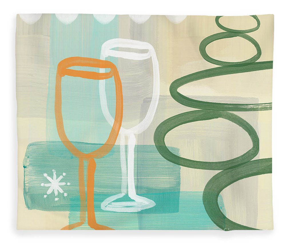 Wine Fleece Blanket featuring the painting Wine For Two by Linda Woods