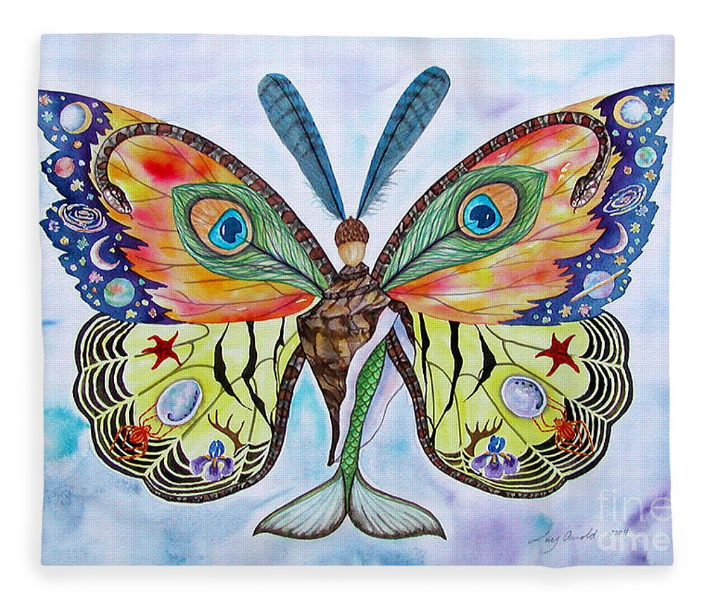 Butterfly Fleece Blanket featuring the painting Winged Metamorphosis by Lucy Arnold
