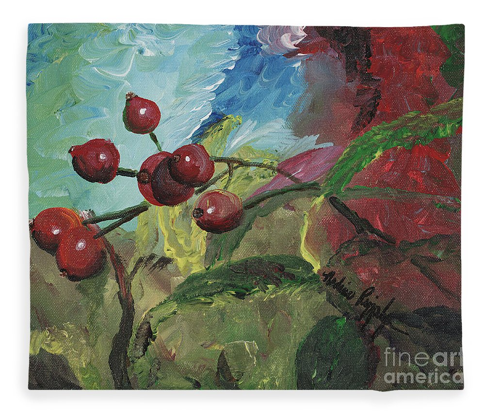 Berries Fleece Blanket featuring the painting Winter Berries by Nadine Rippelmeyer