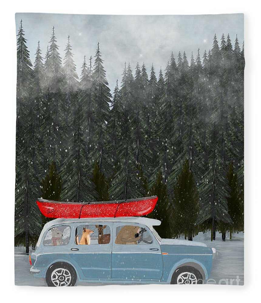 Animals Fleece Blanket featuring the painting Winter Holiday by Bri Buckley
