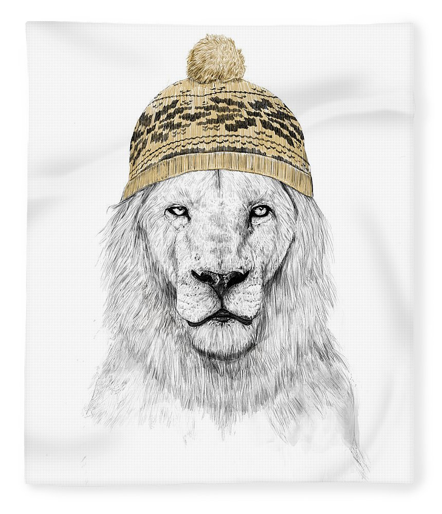 Lion Fleece Blanket featuring the mixed media Winter Is Coming by Balazs Solti