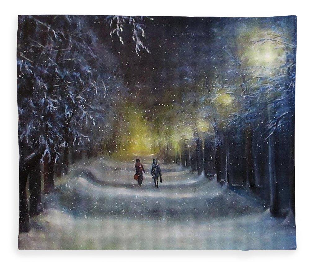 Night Lights Fleece Blanket featuring the painting Winter night walk by Natalja Picugina