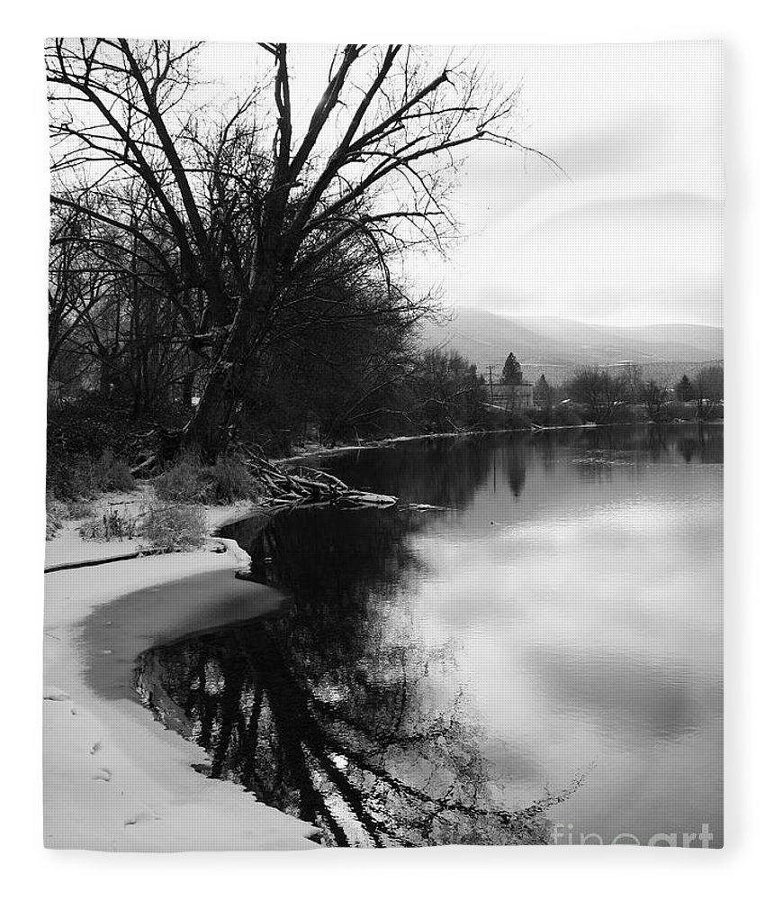 Black And White Fleece Blanket featuring the photograph Winter Tree Reflection - Black and White by Carol Groenen