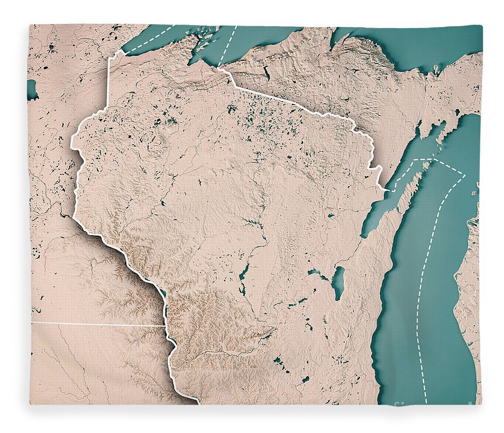 Wisconsin State Usa 3d Render Topographic Map Neutral Border Fleece
