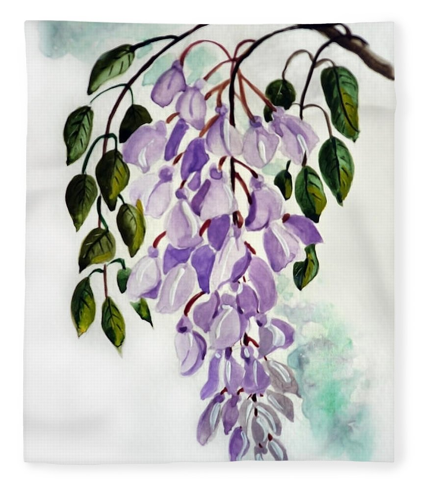 Floral Paintings Flower Paintings Wisteria Paintings Botanical Paintings Flower Purple Paintings Greeting Card Paintings  Fleece Blanket featuring the painting Wisteria by Karin Dawn Kelshall- Best