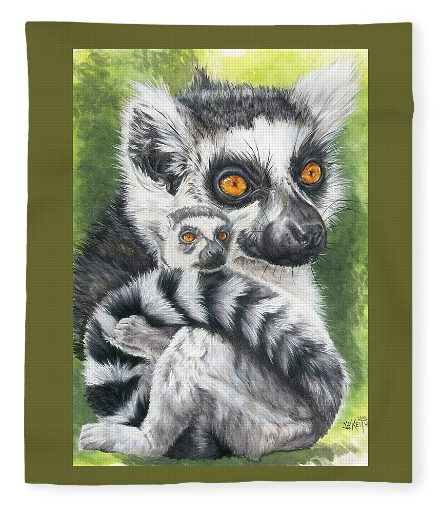 Lemur Fleece Blanket featuring the mixed media Wistful by Barbara Keith