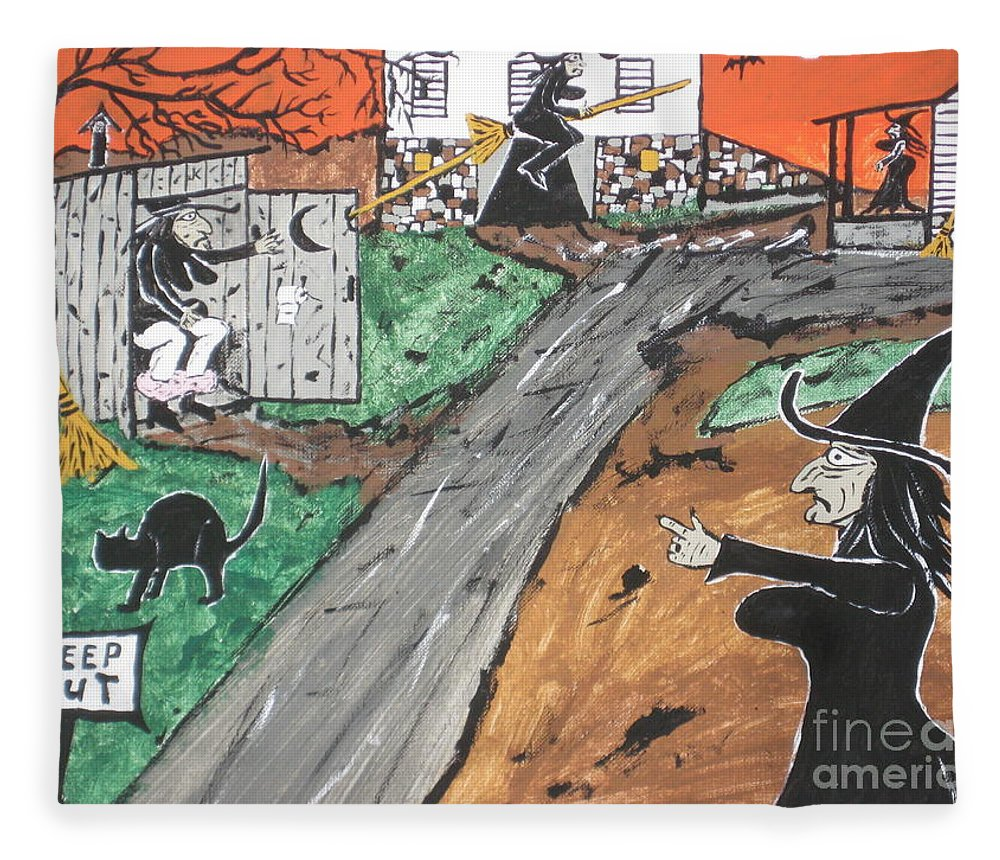 Halloween Fleece Blanket featuring the painting Witches Outhouse by Jeffrey Koss