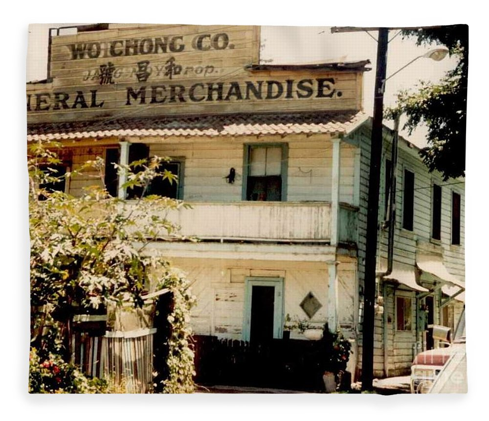 Mary Deal Fleece Blanket featuring the photograph Wo Chong General Store Courtland Ca by Mary Deal