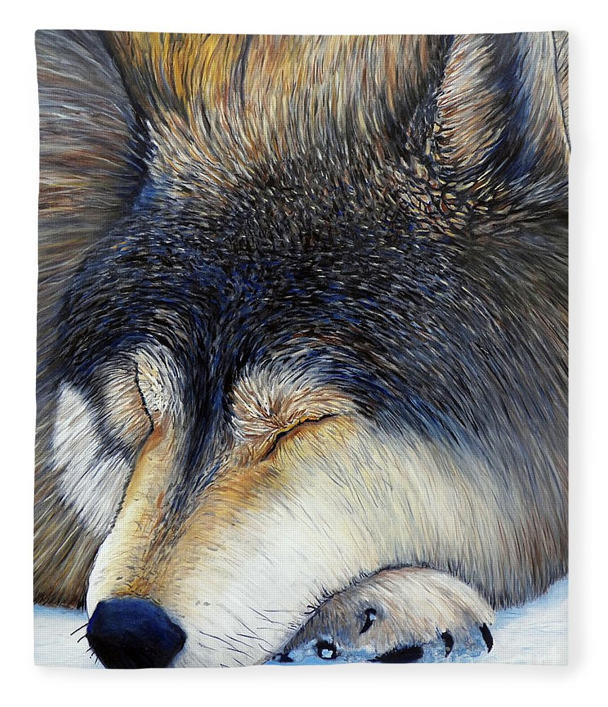 Wolf Fleece Blanket featuring the painting Wolf Dreams by Brian Commerford