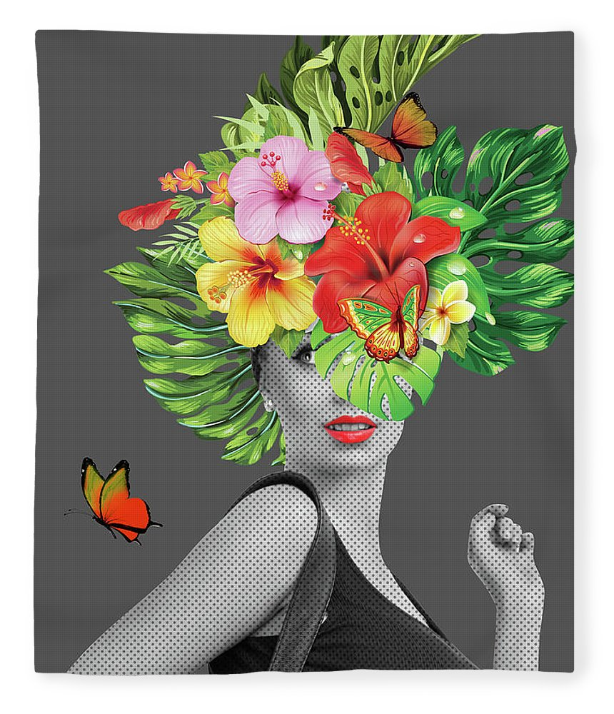 Woman Fleece Blanket featuring the photograph Woman Floral by Mark Ashkenazi