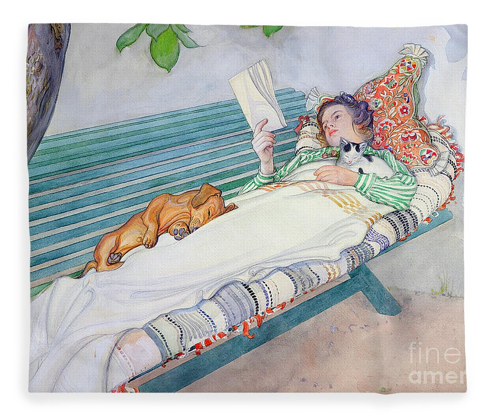 Woman Fleece Blanket featuring the painting Woman Lying on a Bench by Carl Larsson