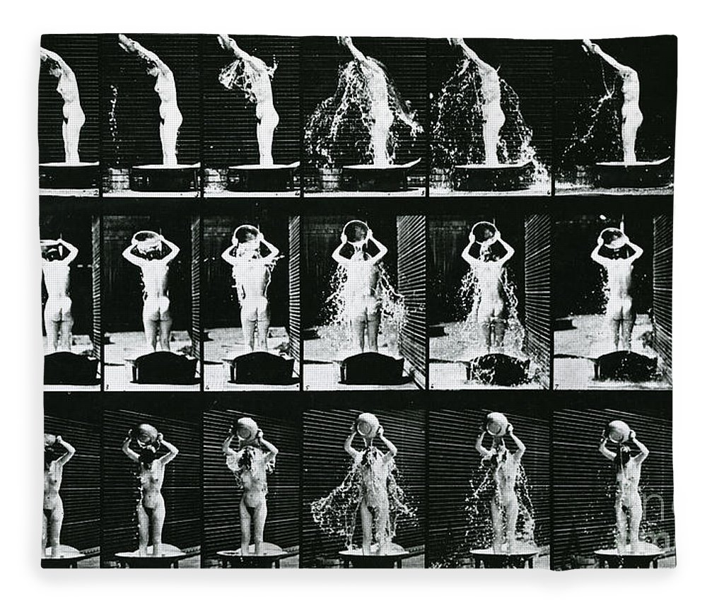 Muybridge Fleece Blanket featuring the photograph Woman Pouring A Basin Of Water Over Her Head by Eadweard Muybridge