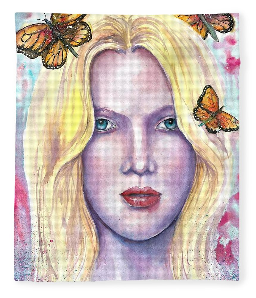 Original Painting Fleece Blanket featuring the painting Women Face beauty by Natalja Picugina