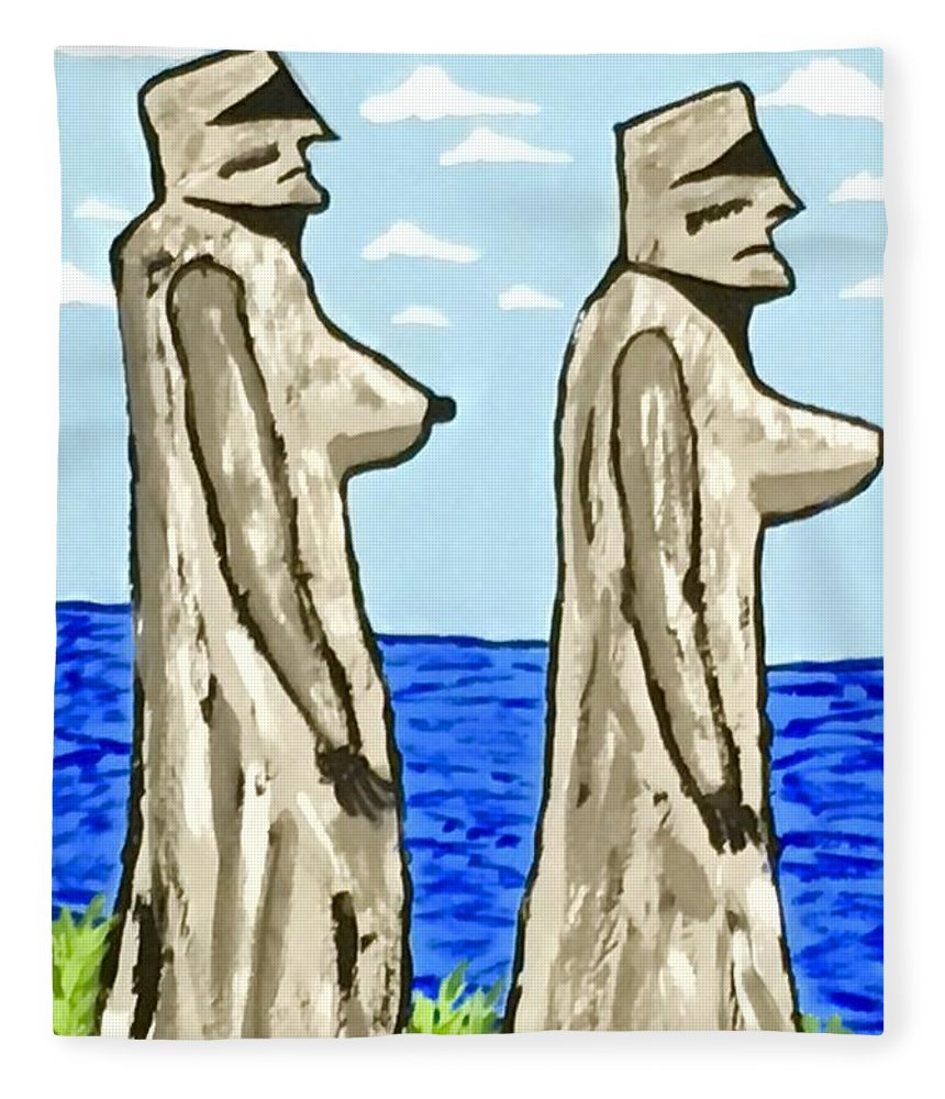 Lesbians Fleece Blanket featuring the painting Women Of Easter Island by Jeffrey Koss