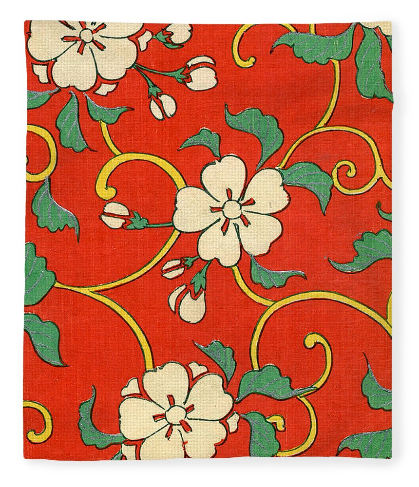 Red Fleece Blanket featuring the painting Woodblock Print of Apple Blossoms by Japanese School
